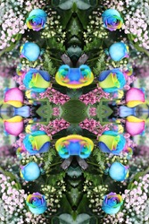 a abstract of multicolor roses with pink ginestra and snowy babys breath 7627
