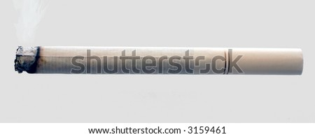 A allumé la cigarette, d'isolement sur le gris - stock photo