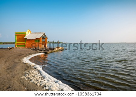 a alone temple at dhanushkodi beach, Rameshwaram, India