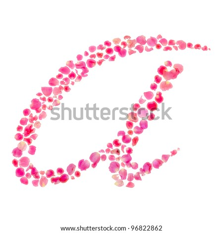 A Alphabet/Composed with Rose Leaves/Isolated on White