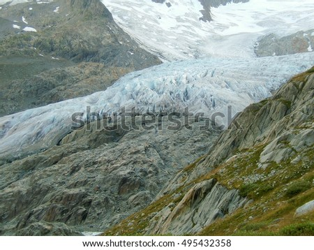 a alpine mountain glacier in the mountain of Switzerland, #495432358