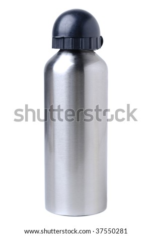 A aluminum flask over a white background