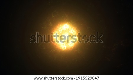 A angry and raging star churning in space, throwing solar flares and charged particles into the void. Stock fotó ©