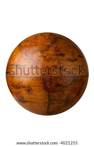 a antique globe on white for easy isolation