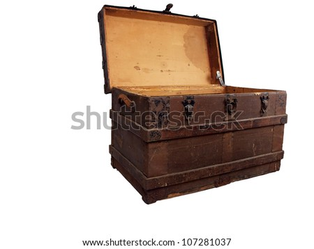 a antique wooden chest that is open and isolated on a white background