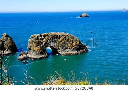 A arch rock in the pacific ocean