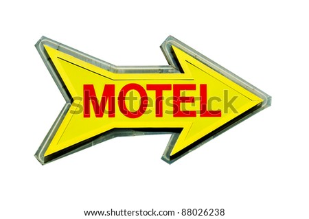a arrow-shaped motel sign on a white background