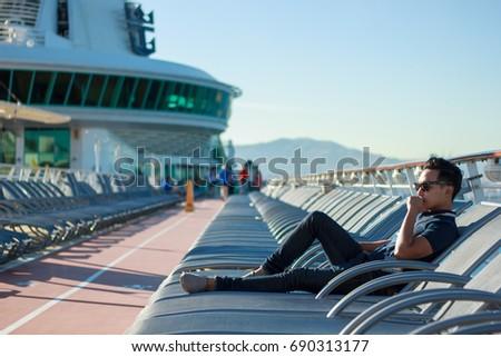 A asian man portrait on mediterranean cruise.