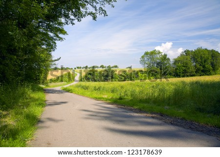 A asphalt fields road in a sunny day, to right cereal field and meadow, evening, by Beckingen, Saarland / Germany, - stock photo
