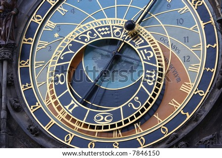 A astronomical clock in Prague, Czech republic in the Old Town Square.