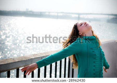 a attractive girl relax outdoor