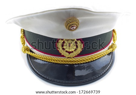 a Austrian police hat on a white background