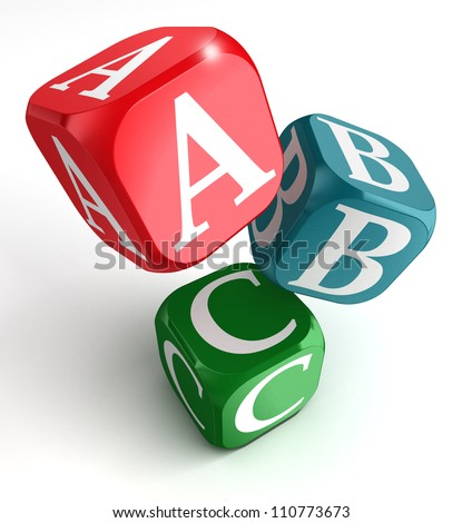A,B and C on red, blue and green box on white background - stock photo