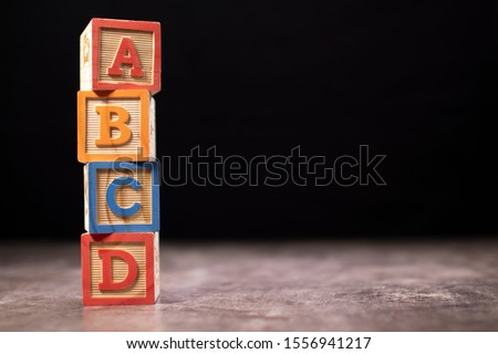 A, B, C and D wooden blocks Foto stock ©