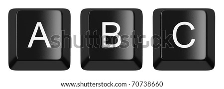 A, B, C black computer keys alphabet isolated on white - stock photo