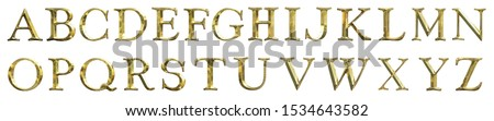 A B C D E F G H I J K L M N O P Q R S T U V W X Y Z text Metal gold platting isolated on white background. This has clipping path.  Stock fotó ©