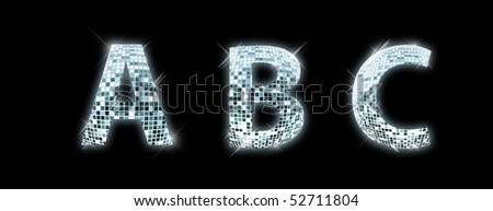 A, B, C - font made from a disco ball - stock photo