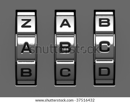 A, B, C letters from combination lock alphabet