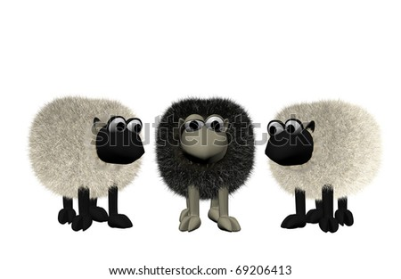 a b3d black sheep between two white sheep
