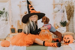 a baby girl with blue eyes and long white hair in a Halloween witch costume and a tiny dachshund in a dog jumpsuit are sitting on the floor in the room. space for text. High quality photo