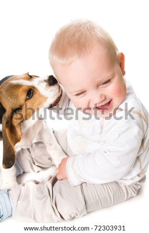 A Baby  with puppy dog