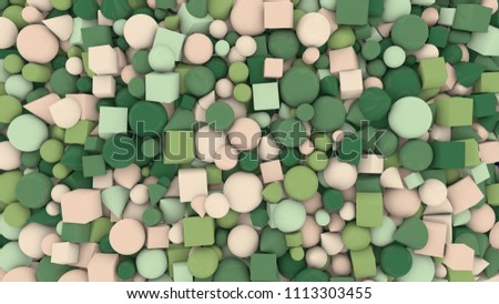 A babyish 3d illustration of different shape and color figures background from cheery big and small light and dark green, pastel and white balls, cubes, sticks, cones and pyramids.