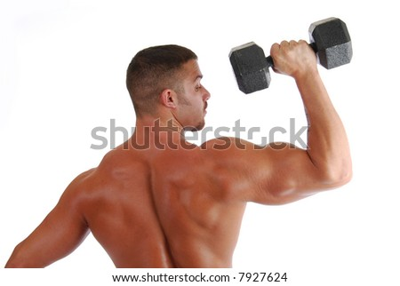 A back view of a bodybuilder lifting weights