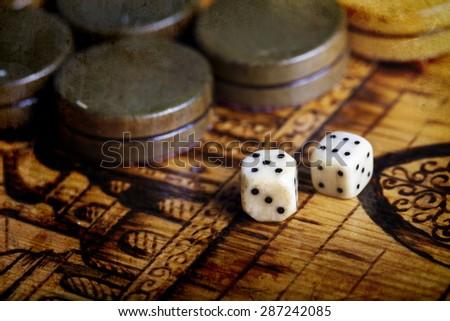 a Backgammon dice vintage background