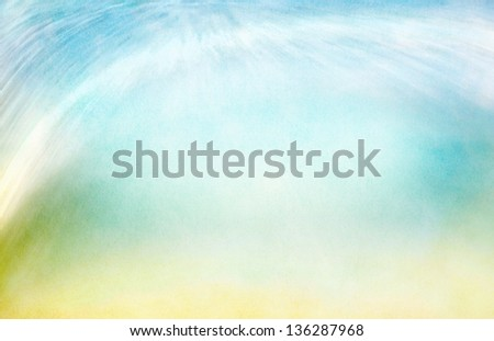 A background abstraction of water motion mixed with clouds and fog.  Image displays a pleasing paper grain and texture when viewed at 100%.