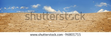 A background image of dried and cracked soil