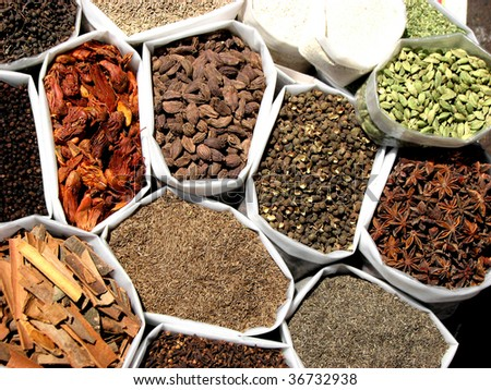 A background of a variety of tropical Indian spices