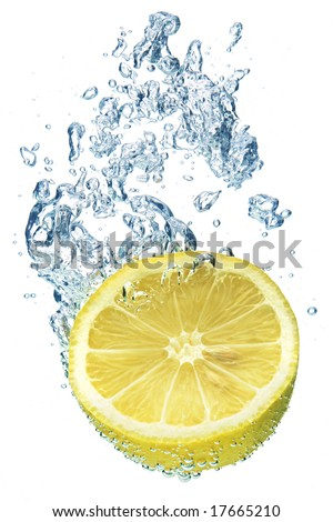 A background of bubbles forming in blue water after lemon is dropped into it.
