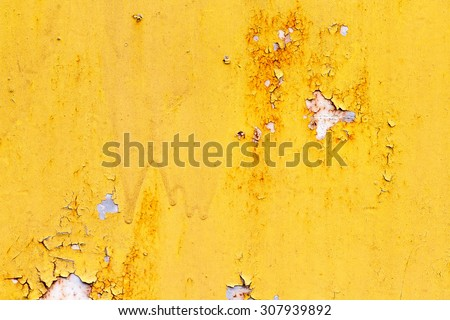 A background of peeling paint and rusty old metal