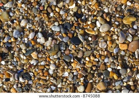 A background of smooth beach pebbles