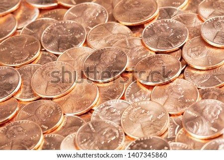 A Background of United States penny Coins Close up Сток-фото ©