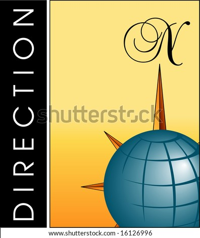 A background with a compass and a globe - stock photo