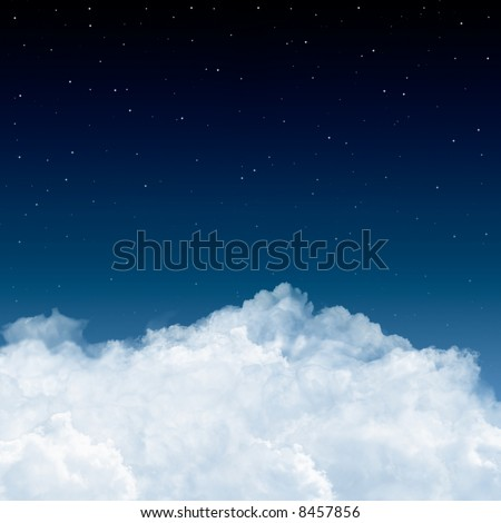 A background with white clouds, blue sky and stars. Kind of an aerial view.