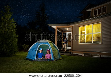 a backyard campout / for excited little kids / with help from mommy #225801304