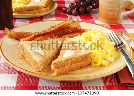 A bacon and egg breakfast
