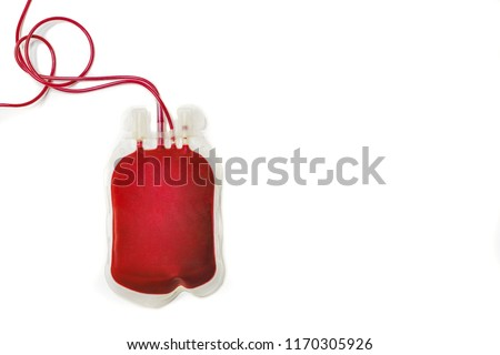 A bag of fresh blood or packed red cells, isolated on white background for donation or therapy or exchanged transfusion.  Bag of blood without labelled sticker.