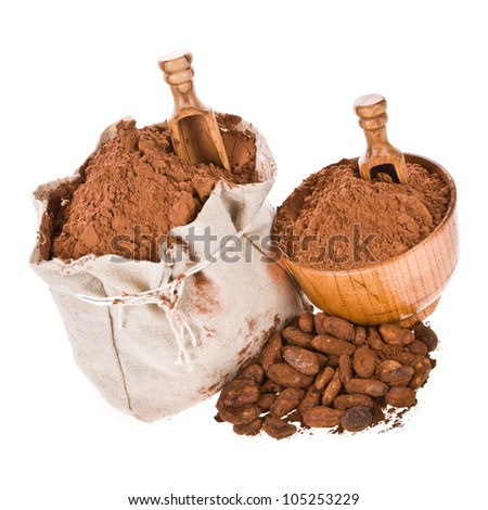 a bag of freshly ground cocoa, cocoa powder wooden spoon and bowl, cocoa beans isolated on white background