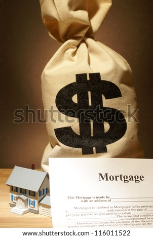A bag of money to represent the cost of a housing unit.