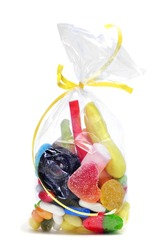 a bag with candies on a white background