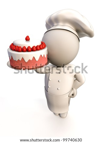 A baker proudly showing a strawberry shortcake