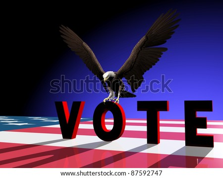 A Bald Eagle landing on the O in VOTE.