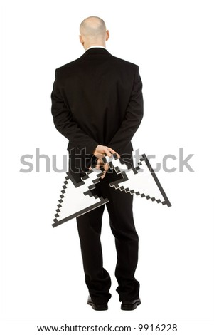 stock photo : A bald man in a suit holding two mouse pointers downwards