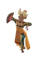 A Balinese Legong Dancer holding a fan