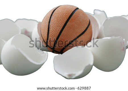 A ball coming out of egg shell