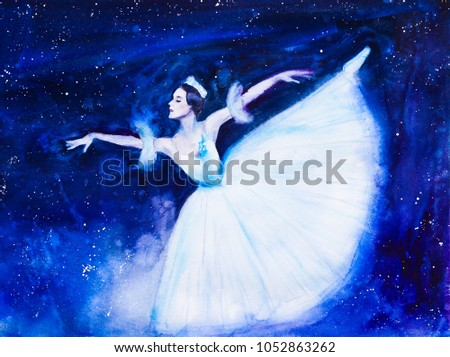 A ballerina in an airy skirt, a long skirt-tutu, a dark background - a starry sky. Watercolor painting.