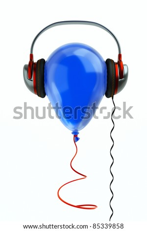 a balloon with headphones on white, music concept